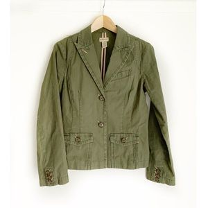 Anthro ELEVENSES Green Utility Blazer Jacket